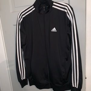 Adidas black and white zip up